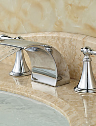 cheap -Contemporary Widespread Waterfall Ceramic Valve Two Handles Three Holes Chrome, Bathroom Sink Faucet