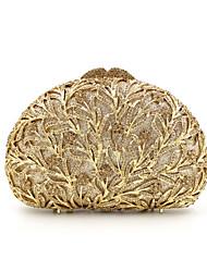 cheap -Women's Crystal / Rhinestone Metal Evening Bag Wedding Bags Floral Print Golden / Red / Silver