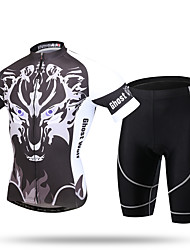 cheap -Men's Short Sleeve Cycling Jersey with Shorts Novelty Bike Shorts Pants / Trousers Jersey Breathable 3D Pad Quick Dry Ultraviolet Resistant Reflective Strips Sports Spandex Coolmax® Mesh Novelty