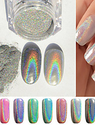 cheap -1g box colorful new rainbow shinning mirror nail glitter powder perfect holographic nails dust-laser holo nails pigment