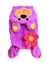 cheap -Cat Dog Costume Hoodie Jumpsuit Winter Dog Clothes Purple Costume Polar Fleece Animal Cosplay XXS XS S M L