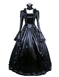 cheap -Maria Antonietta Victorian Medieval 18th Century Dress Party Costume Masquerade Women's Satin Costume Black Vintage Cosplay Party Prom Long Sleeve Long Length Ball Gown
