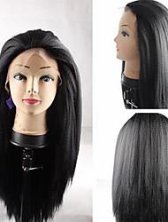 Недорогие -Парики из искусственных волос Прямой Яки Kardashian Прямой силуэт Яки Лента спереди Парик Черный Искусственные волосы Черный