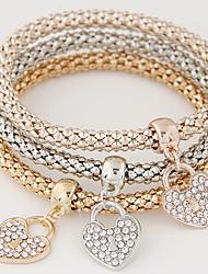 cheap -Women's Charm Bracelet Layered Stack Stacking Stackable Heart Love Ladies Luxury European Simple Style Fashion Rhinestone Bracelet Jewelry Rainbow For Gift Daily Valentine / Imitation Diamond