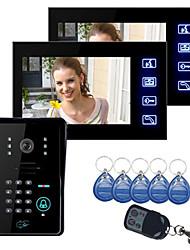 """Недорогие -сенсорная клавиша 7 """"цветной ЖК-дисплей видеодомофон с камерой и кодовой клавиатурой 1-2 домофон 420tvline cmos camra"""