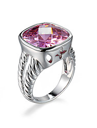 cheap -Women's Ring Bezel Set Ring AAA Cubic Zirconia Amethyst Pink Champagne Zircon Cubic Zirconia European Fashion Halloween Daily Jewelry Cocktail Ring