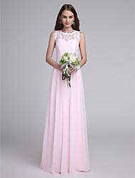 cheap -Sheath / Column Jewel Neck Floor Length Chiffon / Lace Bodice Bridesmaid Dress with Lace