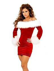 cheap -Mrs.Claus Cosplay Costume Santa Clothes Women's Vacation Dress Christmas Halloween Festival / Holiday Terylene Red Women's Easy Carnival Costumes Patchwork