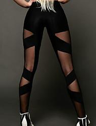 Недорогие -Жен. Сексуальные платья С перекрещивающимися элементами / Спортивный Леггинсы - Однотонный, Сетка Нормальная Черный M L XL / Обтягивающие