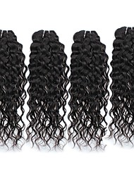 cheap -4 Bundles Peruvian Hair Water Wave Unprocessed Human Hair Natural Color Hair Weaves / Hair Bulk 8-28 inch Human Hair Weaves Hot Sale Human Hair Extensions / Short / 8A