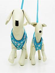 cheap -Dog Harness Adjustable / Retractable Soft Handmade Stripes Geometic Nylon Blue