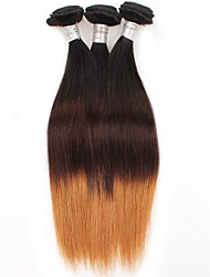 cheap -3 Bundles Brazilian Hair Straight Virgin Human Hair Ombre Hair Weaves / Hair Bulk Ombre Human Hair Weaves Human Hair Extensions / 10A
