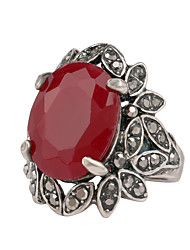 cheap -Women's Synthetic Ruby Ring Resin Rhinestone Silver Plated Leaf Luxury Ring Jewelry Silver For Wedding Party Daily Casual 6 / 8 / 9 / 10¼ / Imitation Diamond / Alloy