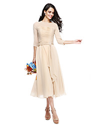 cheap -A-Line Jewel Neck Tea Length Georgette Bridesmaid Dress with Crystal Brooch / Ruched
