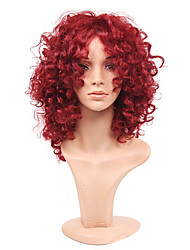 cheap -fashion rihanna charming kinky curly wigs african american kinky curly wine red short wigs synthetic hair for black women