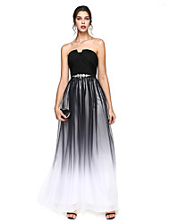 cheap -A-Line Prom Formal Evening Dress Notched Sleeveless Floor Length Chiffon with Sash / Ribbon Criss Cross Beading 2020 / Color Gradient