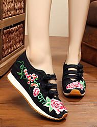 cheap -Women's Flats Flat Heel Closed Toe Comfort Espadrilles Athletic Outdoor Buckle Flower Fabric Summer Black / Red / Blue / EU37