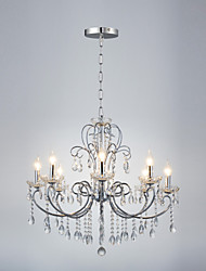 cheap -QINGMING® 8-Light 75cm(29.5inch) Crystal Chandelier Metal Chrome Traditional / Classic 110-120V / 220-240V