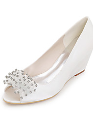 cheap -Women's Heels Wedge Heels Wedge Heel Peep Toe Pearl Silk Spring / Summer White / Purple / Champagne / Wedding / Party & Evening