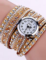 cheap -Women's Bracelet Watch Wrist Watch Quartz Quilted PU Leather Black / Blue / Silver Luminous Cool Imitation Diamond Analog Ladies Charm Sparkle Vintage Casual - Red Pink Light Blue