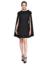 cheap -A-Line Little Black Dress Celebrity Style Holiday Homecoming Cocktail Party Dress Jewel Neck Sleeveless Short / Mini Chiffon with Pleats 2021