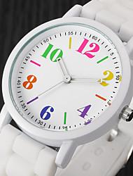 Недорогие -Жен. Повседневные часы Модные часы Наручные часы Кварцевый силиконовый Черный / Белый / Синий Cool Цветной Аналоговый Дамы Винтаж На каждый день - Розовый Черный / Белый Светло-синий