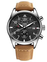 cheap -Men's Wrist Watch Quartz Genuine Leather Black / Brown Water Resistant / Waterproof Calendar / date / day Chronograph Analog Luxury Classic Casual - Black / Red Brown Black / Stainless Steel