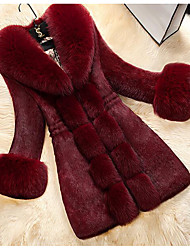 cheap -Women's Winter Fur Coat Maxi Solid Colored Daily White Black Red M L XL XXL / Going out