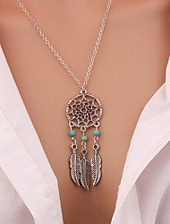 cheap -Women's Turquoise Pendant Necklace Long Necklace Tassel Fringe faceter Leaf Wings Feather Dream Catcher Tassel Bohemian Vintage Fashion Gold Plated Turquoise Alloy Silver Necklace Jewelry For