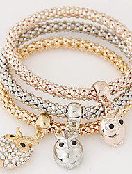 cheap -Women's Charm Bracelet Layered Stack Stacking Stackable Owl Ladies Luxury European Simple Style Fashion Rhinestone Bracelet Jewelry Rainbow For Christmas Gifts Gift Daily / Imitation Diamond
