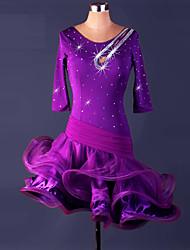cheap -Latin Dance Dresses Women's Performance Spandex / Organza Ruffles / Crystals / Rhinestones 3/4 Length Sleeve High Dress