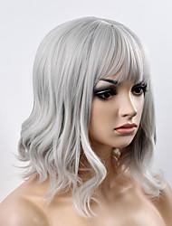 cheap -Synthetic Wig Natural Wave Natural Wave Bob With Bangs Wig Short Grey Synthetic Hair Women's Gray