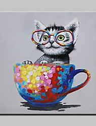 cheap -Mintura® Hand-Painted Naughty Cat Animal Oil Painting On Canvas Modern Abstract Wall Art Pictures For Living Room Home Decoration Ready To Hang
