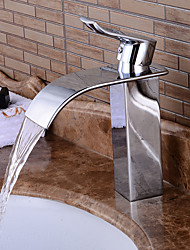 cheap -Bathroom Sink Faucet - Pre Rinse / Waterfall / Widespread Chrome Centerset Single Handle One HoleBath Taps