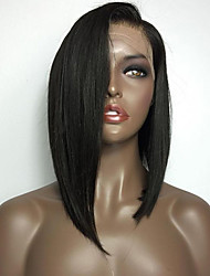 cheap -Synthetic Lace Front Wig Straight Style Bob Lace Front Wig Black#1B Synthetic Hair Women's with Baby Hair Heat Resistant Natural Black Wig Medium Length