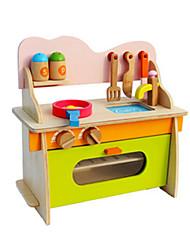 cheap -Toy Kitchen Set Pretend Play Play Kitchen Furniture Novelty Simulation Wood Kid's Girls' Toy Gift