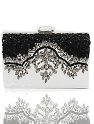cheap -Women's Beading / Pearl / Acrylic Jewels Poly urethane Evening Bag Solid Colored Black / White