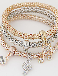 cheap -Women's Charm Bracelet Layered Stack Stacking Stackable Music Music Notes Ladies Luxury European Simple Style Fashion Rhinestone Bracelet Jewelry Rainbow For Gift Daily / Imitation Diamond