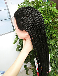 cheap -Synthetic Lace Front Wig Afro Braid Lace Front Wig Long Natural Black Synthetic Hair Women's Heat Resistant For Black Women African Braids Black