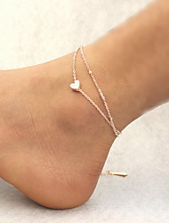 cheap -Women's Ladies Anklet feet jewelry Link / Chain Double Heart Cheap Dainty Charm Simple Delicate Anklet Jewelry Golden For Daily Casual Beach Bikini