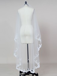 cheap -One-tier Lace Applique Edge Wedding Veil Blusher Veils / Elbow Veils / Fingertip Veils with Appliques Tulle / Classic
