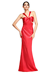cheap -Sheath / Column Celebrity Style Formal Evening Dress Straps Sleeveless Sweep / Brush Train Stretch Satin with Pleats 2020