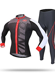 cheap -XINTOWN Men's Long Sleeve Cycling Jersey with Tights Black Dots Bike Pants / Trousers Jersey Clothing Suit Thermal / Warm Windproof 3D Pad Reflective Strips Back Pocket Winter Sports Polyester
