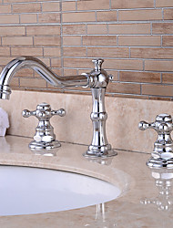 cheap -Bathroom Sink Faucet - Pre Rinse / Waterfall / Widespread Chrome Centerset Two Handles Three HolesBath Taps