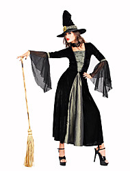 cheap -Witch Women's Christmas Halloween Carnival Festival / Holiday Polyester Black Women's Carnival Costumes Solid Colored Lace