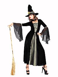Недорогие -ведьма Жен. Рождество Хэллоуин Карнавал Фестиваль / праздник Полиэстер Черный Жен. Карнавальные костюмы Однотонный Кружева