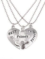 cheap -Men's Women's Pendant Necklace Engraved Broken Heart Heart Love life Tree Best Friends Friendship Personalized Dangling Bohemian European Alloy Silver Necklace Jewelry For Daily Casual Sports