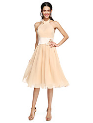 cheap -A-Line High Neck Knee Length Chiffon Bridesmaid Dress with Sash / Ribbon / Flower / Pleats
