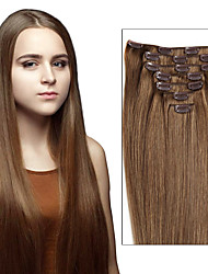 cheap -Febay Clip In Human Hair Extensions Straight Remy Human Hair Human Hair Brazilian Hair Medium Brown / Bleached Blonde