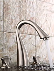 cheap -Bathroom Sink Faucet - Widespread Nickel Brushed Widespread Two Handles Three HolesBath Taps / Brass